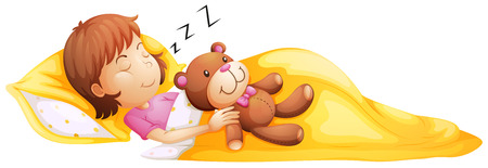 Illustration of a young girl sleeping with her toy on a white background Vector