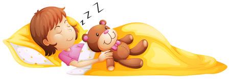 Illustrazione di una giovane ragazza dorme con il suo giocattolo su uno sfondo bianco