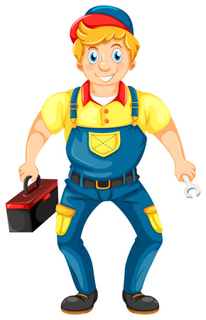 Illustration of a smiling mechanic on a white background Vector