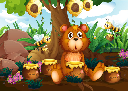 honey pot: Illustration of a cute bear under the tree with bees and pots of honey