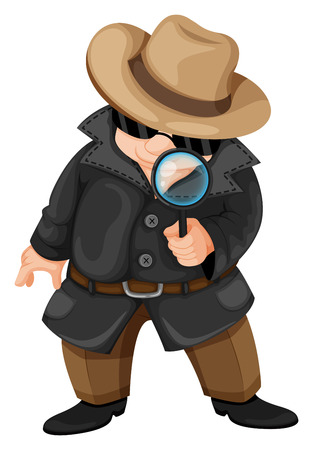 detective: Illustration of a fat detective on a white background