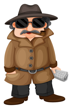 Illustration of a detective on a white background Vector