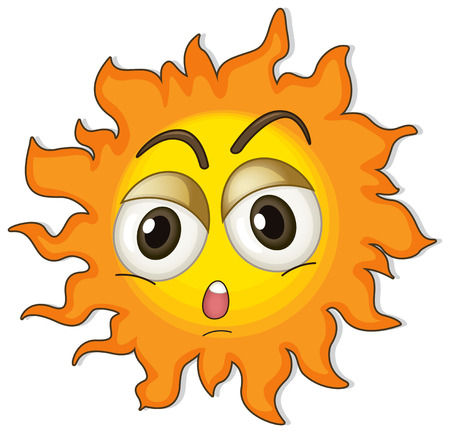 round face: Illustration of a sun on a white background Illustration