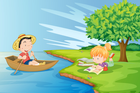 riverside tree: Illustration of a boat with a boy and a girl studying at the riverbank