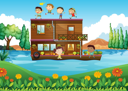 wooden house: Illustration of a wooden house in the middle of the river with kids Illustration