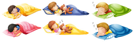 descansando: Ilustración de los niños durmiendo a pierna suelta sobre un fondo blanco Vectores