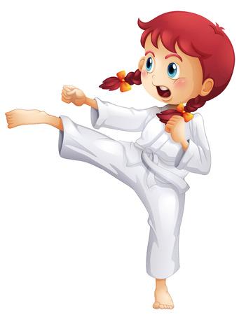 Ilustraci�n de una mujer joven haciendo karate en un fondo blanco