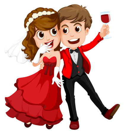 Illustration of a couple who just got married on a white background Vector
