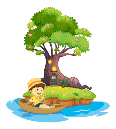 Illustration of a boy boating on a white background Vector