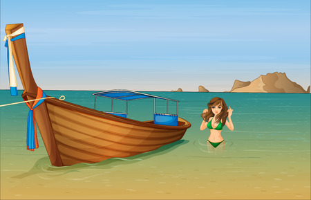 tied girl: Illustration of a girl near the wooden boat