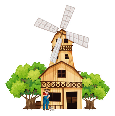 Illustration of a farmer in front of the barnhouse on a white background Vector