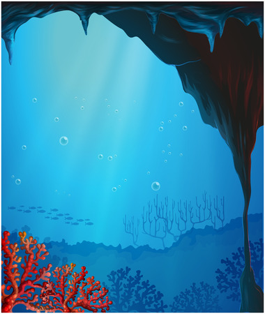 sea scenery: Illustration of the corals inside the seacave Illustration