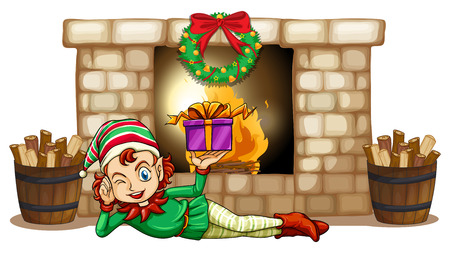 Illustration of an elf in front of the fireplace on a white background Vector