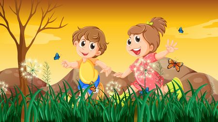 Illustration of a girl and a boy playing with the butterflies Vector