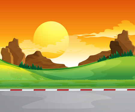 Illustration of a beautiful landscape and the bright sun in the sky