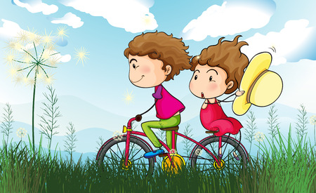 cartoon biker: Illustration of a couple biking Illustration