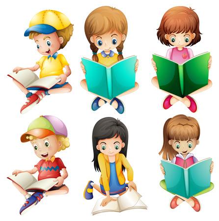 자손: 아이들이 흰색 배경에 독서의 그림