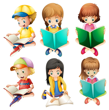 read book: Illustration of the kids reading on a white background