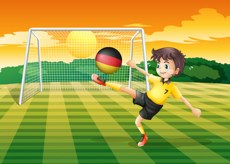 Illustration of a girl kicking the ball with the flag of Germany Vector
