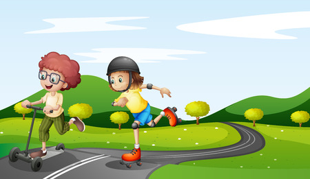 rollerskate: Illustration of the kids playing at the road
