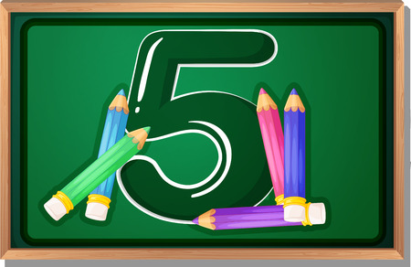 numeric: Illustration of a blackboard with five pencils