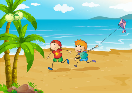 young boy beach: Illustration of the kids playing at the beach with their kite