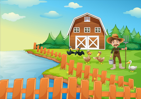 Illustration of a farmer feeding his ducks Vector