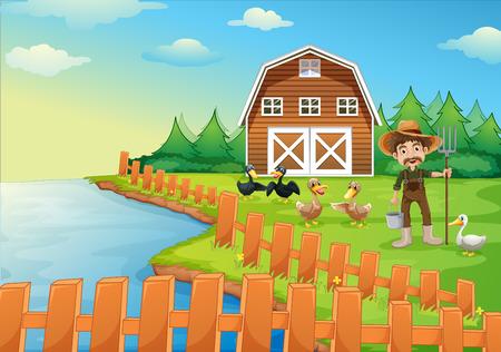 cartoon wood bucket: Illustration of a farmer feeding his ducks