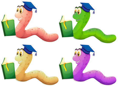 Illustration of the worms reading on a white background Vector