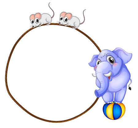 Illustration of a round template with a blue elephant and playful mice on a white background Vector