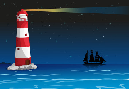 Illustration of a lighthouse in the middle of the ocean Vector