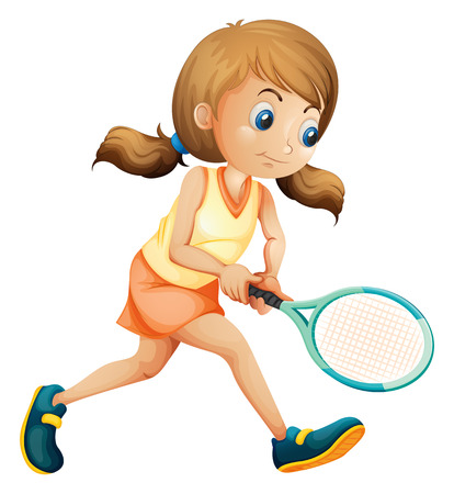 Illustration of a young lady playing tennis on a white background Vector