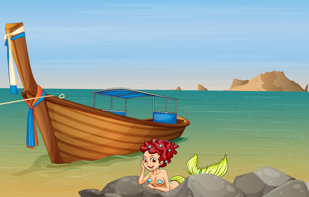 Illustration of a mermaid at the sea near the wooden boat Vector