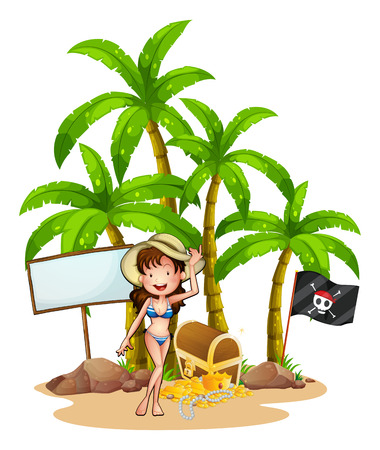 Illustration of a sexy girl at the beach near the empty signboard on a white background Vector