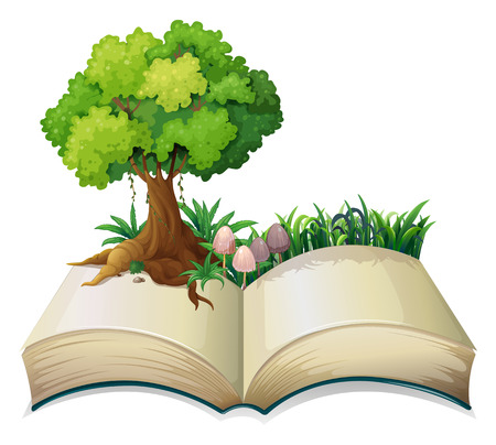 biblioteca: Ilustración de un libro abierto con un árbol sobre un fondo blanco