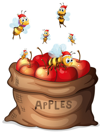 apple sack: Illustration of a sack of apple with bees on a white background