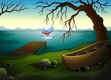Illustration of a boat under the tree near the sea with a big fish Vector