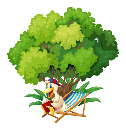 Illustration of a duck reading under the tree on a white background Vector
