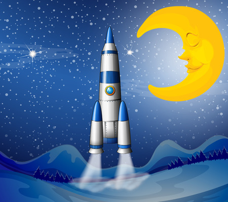computerized: Illustration of a rocket going to the sky with a sleeping moon