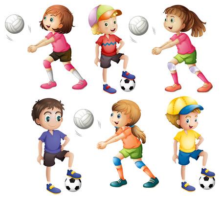 практика: Иллюстрация из детей, играющих в волейбол и футбол на белом фоне Иллюстрация
