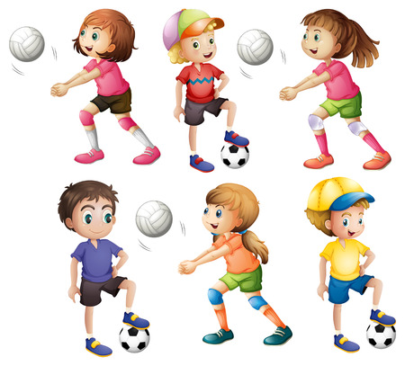 Illustration of the kids playing volleyball and football on a white background Illustration