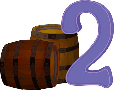 numbering: Illustration of the two wooden barrels on a white background Illustration