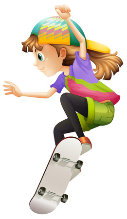 Illustration of a young woman skateboarding on a white background Vector