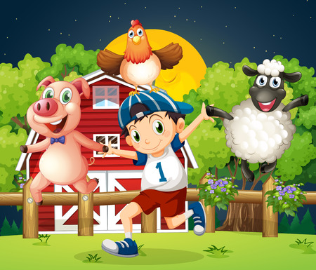 Illustration of a boy playing with the farm animals Vector
