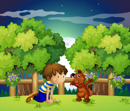 bestfriend: Illustration of a boy and his pet playing outdoor