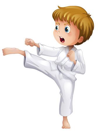 Ilustración de un muchacho valiente haciendo sus movimientos de karate sobre un fondo blanco