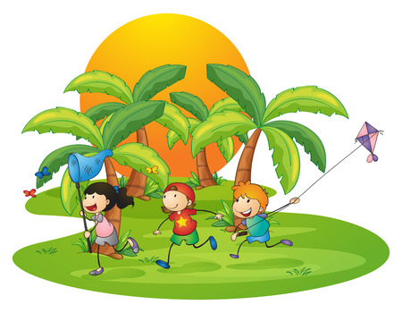 Illustration of the kids playing in the island near the palm trees on a white background Vector