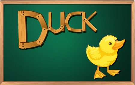 Illustration of a blackboard with a duck Vector