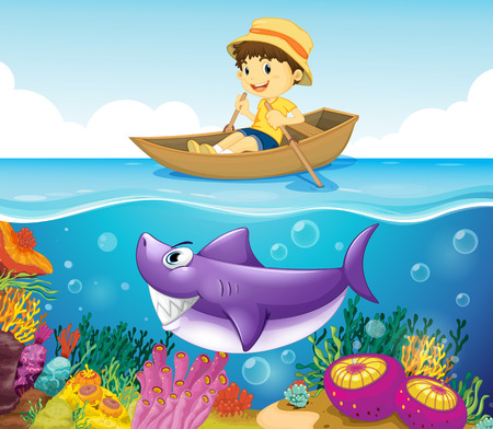 Illustration of a boy in the ocean with a shark Vector