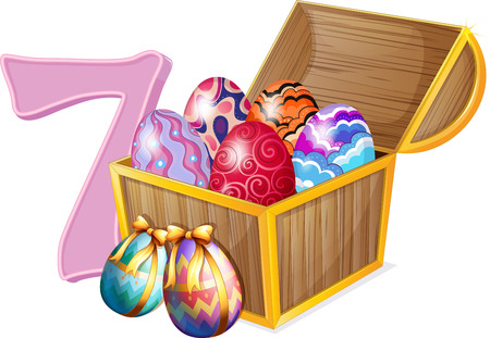 Illustration of the seven Easter eggs on a white background Vector